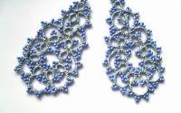 Cercei dantela frivolitecercei bleu din dantela