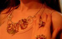 SET bijuterii filigram argintat cu perle HAWAII