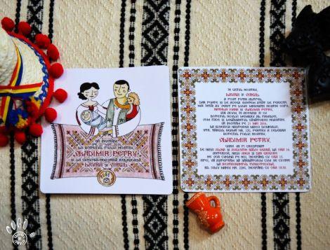 invitatie botez cu motive traditional romanesti
