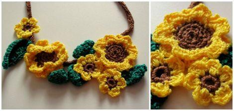 Colier crosetat floarea-soarelui