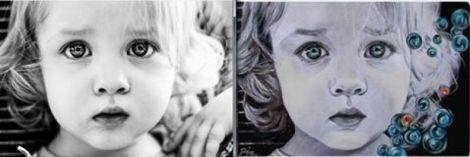 Realizez portrete alb negru inramate