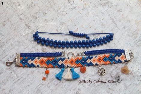 """Bratara """"Love"""" - albastru-portocaliu"""