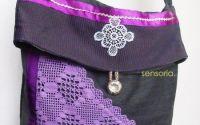 geanta violet dantelat