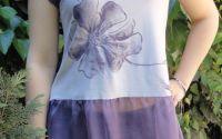 """Tricou pictat manual """"Purple flower"""""""