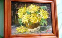 Crizanteme galbene - Tablou in ulei