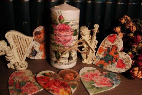 "Lumanare""victoriana"" decoupage handmade nunta"