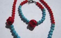 Set- coral rosu si turqoise bleu