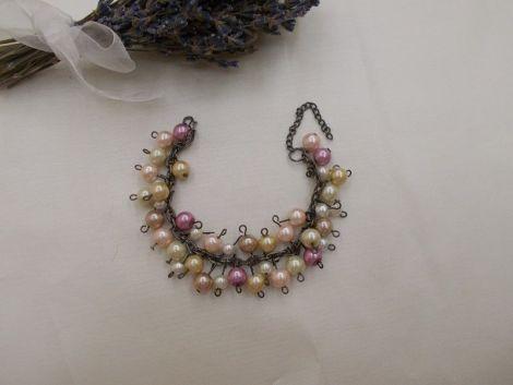 Bratara perle roz bej si ivory b31