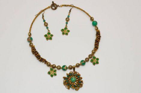 Set colier si cercei - Flori de bronz