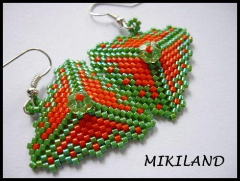 Cercei triunghi- verde-portocaliu
