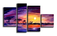 Tablou pictat manual Peisaj apus african 4 panelur