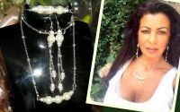 Set delicat 3 piese. argintat cu perle albe