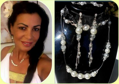 Set bijuterii argintat cu perle albe