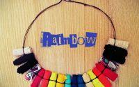 Colier multicolor textil Rainbow