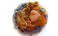 Pandantiv Art Nouveau - Albastru