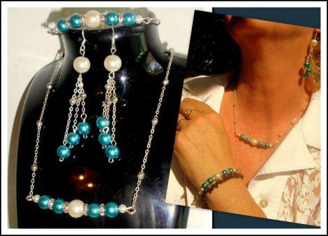 Set delicat argintat cu perle royal blue si albe