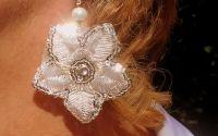 CERCEI din DANTELA alba perle argint si sidef
