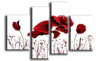 Set tablou pictat manual Maci rosii design modern