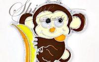 Pandantiv maimuta cu banana emailat