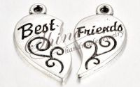 Inimioare Best Friend argintiu antic