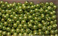 Perle din sticla 8 mm olive