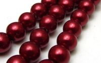 Perle din sticla 8 mm bordo