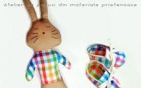 Cadou nou nascut Jucarie textila iepuras + botosei