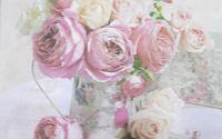 1108 Servetel vaza vintage cu trandafir