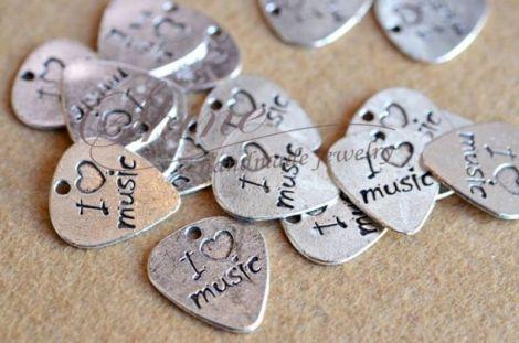 Charm inima I love music argintiu antic