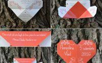 invitatie nunta inimioara tip origami inima