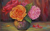 Tablou ulei - dimineti trandafirii