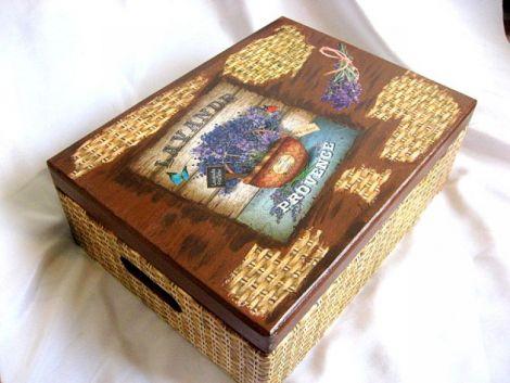 Cutie din lemn -lavanda -