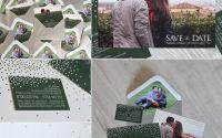 invitatie nunta fotografie buline plic argintiu