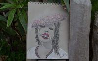Portret in creion si pasteluri.