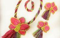 Set colier cercei si bratara orhidee roz