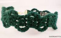 Bratara ingusta verde crosetata