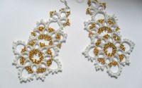 Cercei alb cu auriu