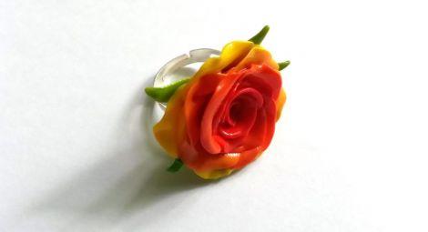 Inel reglabil model floral handmade