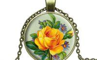 Colier bronz trandafir galben