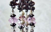 cercei candelabru cu perle si cristale roz