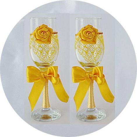 Pahare nunta flori miri si nasi PN 0103