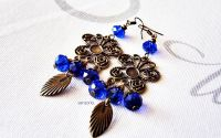 cercei fluturi cu cristale albastre