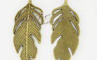 Pandantiv frunza bronz antic 62x23x2mm