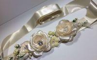 Brau elegant ivory cu trandafiri satin swarowski