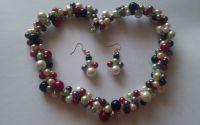 Set colier si cercei perle colorate