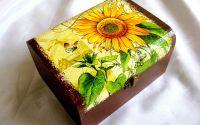 Cutie din lemn -floarea soarelui-