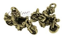Charm motociclist 3D bronz antichizat