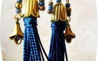 cercei orientali aurii cu ciucuri albastri