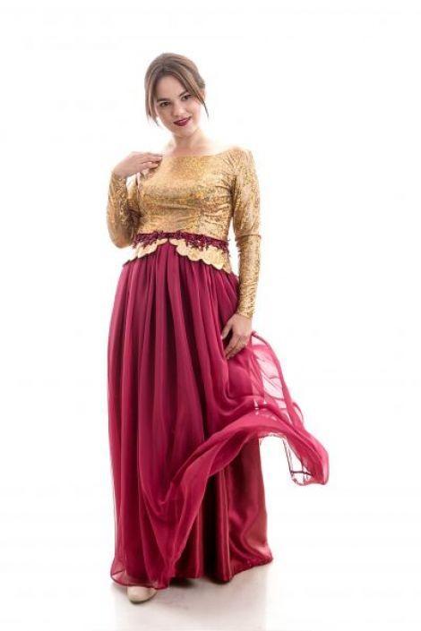Rochie de seara auriu cu burgundy