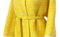 Cardigan galben alb tricotat manual oversize XL